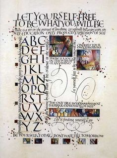 "Let Yourself Free #2 by Thomas Ingmire | (1984) 13"" x 17"" watercolor, ink, gold powder and gold leaf on calfskin parchment #calligraphy #illuminated #manuscript"