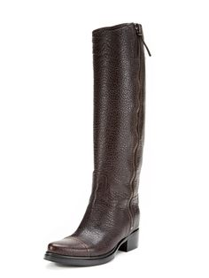 Textured Leather Zip Riding Boots by Miu Miu at Gilt