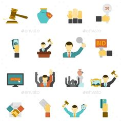 Auction Icons Set - Business Icons
