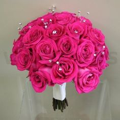 Fuchsia Roses and bling Bridal Bouquet - W Flowers Ottawa