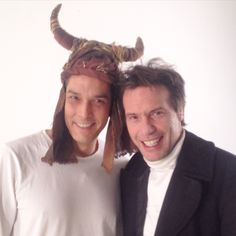 Michail Fan with famous Greek actor Stratos Tzortzoglou