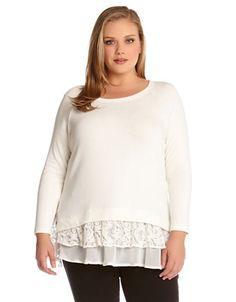 Karen Kane Plus Size Fashion White  Lace Insert Layered Sweater Top | Lord and Taylor #Karen_Kane #Plus_Size #White #Lace #Insert #Layered  #Sweater #Top #Plus #Fashion #KarenKane #Lord_and_Taylor