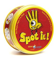 "Spot It $11, perfect for ages 4+ ""This game is on our Christmas list this year. It comes with 55 circular cards, each with a number of different illustrations on them. Every pair of cards you choose will have one, and only one, matching picture, and the goal is to spot the match before everyone else does. The basic premise is simple enough that even young children can play, but there are five different game variations, keeping things interesting for older children and adults as well."""