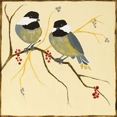 Social Artworking Canvas Painting Design - Chickadees and Berries