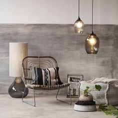 Loungestole i rattan og jern House Doctor, Dining Table, Table Lamp, Recycled Glass, Armchair, Cushions, Living Room, Home Decor, Abigail Ahern