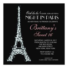 Night in Paris Glitter Sweet 16 Custom Invitation This Parisian Sweet 16 invitation featuring the Eiffel Tower with a silver glitter border is perfect for any Parisian themed party. Paris Invitations, Sweet Sixteen Invitations, Custom Invitations, Birthday Invitations, Quinceanera Invitations, Quinceanera Dresses, Paris Themed Birthday Party, Paris Party, Paris Sweet 16