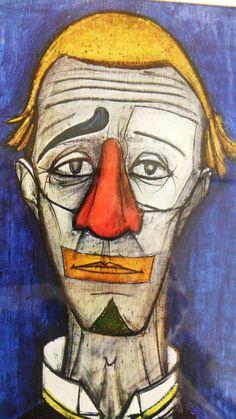Bernard Buffet - Lithograph Tete de Clown