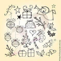 Hand Drawn Christmas Whimsical Angel Tree Fir by MayPLDigitalArt
