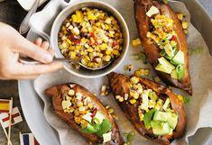 Ofen-Süßkartoffeln mit Mais-Salsa