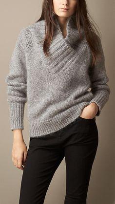 Pale grey melange Brushed Mohair Blend Shawl Collar Sweater - Image 1