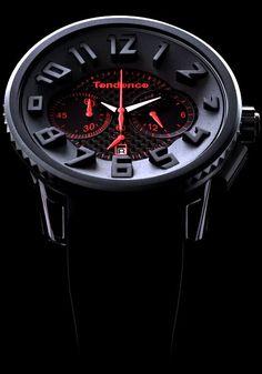 Tendence Black/Red Fiber Chronograph