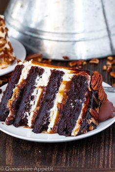 This Turtle Chocolate Layer Cake starts with rich, decadent and moist chocolate cake layers that are filled with a caramel pecan sauce and covered in a smooth caramel frosting, then finished off with a caramel and ganache drip and chopped pecans! Just Desserts, Delicious Desserts, Yummy Food, Easy Appetizer Recipes, Dessert Recipes, Kraft Recipes, Sweet & Easy, Chocolate Turtles, Layer Cake Recipes