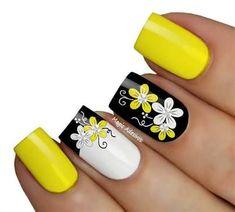 Resultado de imagem para unha amarela decorada Cute Nails, Pretty Nails, Victoria Secret Shops, Daisy Nails, Facts For Kids, Cool Nail Designs, French Nails, Summer Nails, Pedicure