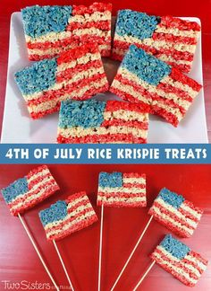 of July Rice Krispie Treats - a fun and easy snack for your of July party! of July Rice Krispie Treats - a fun and easy snack for your of July party! 4th Of July Desserts, Fourth Of July Food, 4th Of July Celebration, 4th Of July Party, July 4th, Patriotic Party, Patriotic Desserts, Small Desserts, Patriotic Decorations