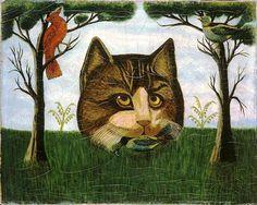 Cat head; folk art painting 19th century, early American