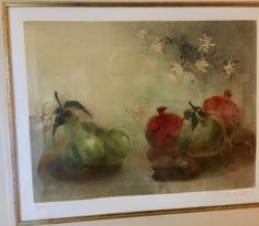 """Kaiko Moti """"Sur Ma Table"""" Hand Signed Color Etching Framed - Certified by JFRMRE on Etsy"""
