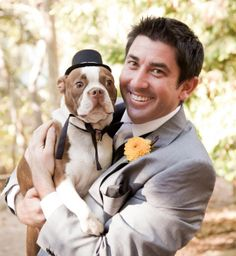 Dustin and adorable dog Dexter. Looks like Dexter's been partying. His bow tie is askew. Dog Wedding, Wedding Ceremony, Wedding Ideas, Rings Cool, Dexter, Your Dog, Pitbulls, Bow, Weddings