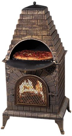 Enjoy fire and cook your dinner at the same time with the Deeco Aztec Allure Pizza Oven Outdoor Fireplace. This fireplace has a barbecue grill hidden behind the sunburst. Made from stainless steel, this outdoor fireplace is strong and long lasting. Best Outdoor Pizza Oven, Outdoor Oven, Outdoor Cooking, Outdoor Kitchens, Build A Pizza Oven, Outdoor Rooms, Outdoor Living, Wood Fired Oven, Wood Fired Pizza