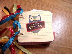 Back to School Mini Album Chipboard Scrapbook by HampshireRose, $20.00