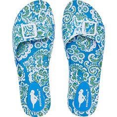 Blue Floral Buckled Sliders