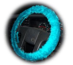 Faux fur Teal Turquoise fuzzy car steering wheel cover furry and fluffy