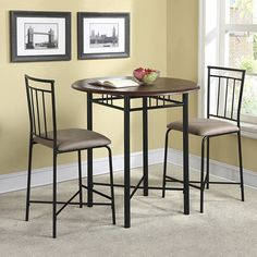 High Top Table 3-piece Round Table Top Wood And Metal Dining Pub Set, Espresso
