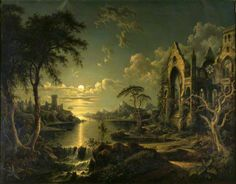 A Ruined Gothic Church beside a River by Moonlight by Sebastian Pether National Trust Date painted: 1841 Date painted: 1841
