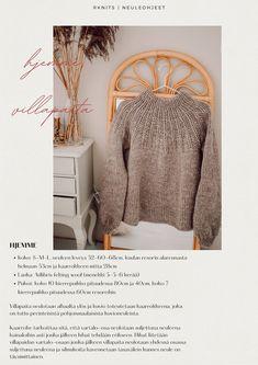 rknits hjemme | helppo alhaalta ylös neulottu villapaita kaarokkeella | Reetta Pelli Knit Crochet, Blanket, Sewing, Knitting, Pattern, Sweaters, Handmade, Diy, Inspiration