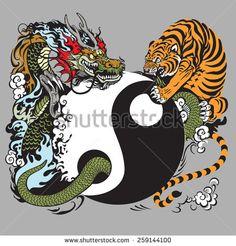 yin yang symbol with dragon and tiger
