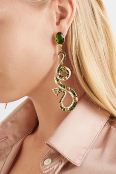 Percossi Papi - Gold-plated Multi-stone Earrings - Green - one size