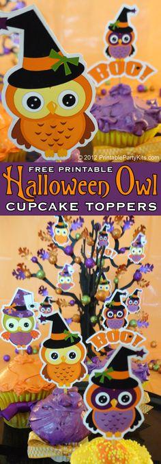 Free printable Halloween owl cupcake toppers (clipart from Cherry Clipart) Halloween Owl, Halloween 2015, Halloween Cards, Holidays Halloween, Halloween Treats, Happy Halloween, Halloween Decorations, Owl Cupcakes, Fondant Cupcakes