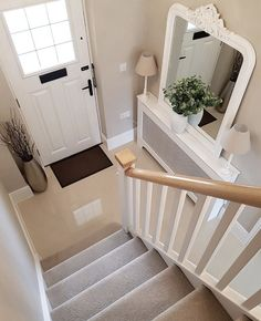 I know you all said not to get rid of my arch window mirror on the poll on my stories last week but the Hampshire mirror I… Entrance Hall Decor, Hallway Ideas Entrance Narrow, Grey Hallway, Arched Window Mirror, Arched Windows, Arch Mirror, Hallway Inspiration, Home Decor Inspiration, Decor Ideas