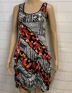JOSEPH RIBKOFF Ruched Dress Sleeveless Abstract Print Size 6 #JosephRibkoff #Casual Cute Clothes For Women, Ruched Dress, Abstract Print, Fit Flare Dress, Knit Dress, Sheath Dress, Joseph, Floral Prints, Cute Outfits