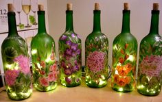 Hand Painted Lighted Wine Bottle / Floral Designs