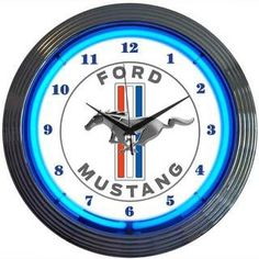 Mustang White Tri-Bar Neon Clock