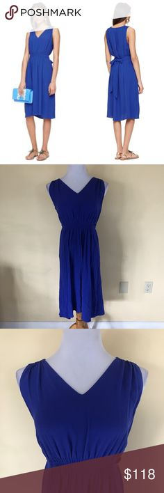 """kate spade fluid crepe back tie blue dress NWT New with tags kate spade fluid crepe back tie blue dress. Super cute, beautiful color, very versatile! """"Look for the silver lining"""". Size Medium. Check out my closet for bundles! kate spade Dresses"""