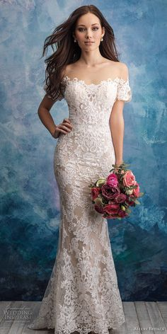 allure bridals fall 2018 bridal short sleeves off the shoulder semi sweetheart neckline full embellishment elegant fit and flare sheath wedding dress sheer button back chapel train (10) mv -- Allure Bridals Fall 2018 Wedding Dresses | Wedding Inspirasi #wedding #weddings #bridal #weddingdress #bride ~