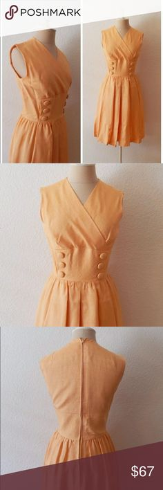 """50s 60s Peach Button Front Secretary Dress Mad Men Style Pleated Skirt By AF Boutique Anne Fogarty Fully Lined Metal Zipper Back with Eye Hook Estimated Size Range X-Small  Bust circumference: 34"""" (86.36 cm) Waist circumference: 25"""" (63.5 cm) Hip circumference: 38"""" (96.52 cm) Length: 39"""" (99.06 cm) Vintage Dresses Midi"""