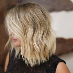 Give volume to fine blonde hair with a sharp-edged bob cut into long blunt layers #bobcut #hairstyle