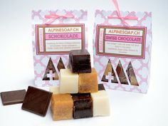 Schokolade - Zuckerwürfel Peeling-Seifen / Swiss Chocolate - Sugar Cube Peeling Soaps (9x20g)