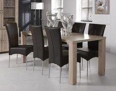 Table de salle à manger contemporaine MORGANE, coloris chêne clair