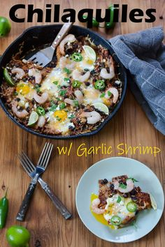 These Baked Chilaquiles with Shrimp are a lighter version of my traditional, fried Chorizo Chilaquiles! #mexicanfood #seafood #chilaquiles #easydinner #brunch #binkysculinarycarnival