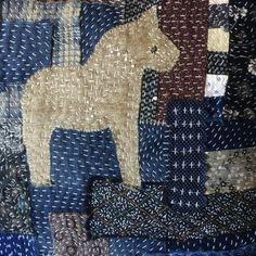 Boro Style Sashiko Stitched Pillow - Jess Wrobel: Textiles and Decor Abstract Embroidery, Hand Embroidery Designs, Embroidery Stitches, Embroidery Patterns, Embroidery Books, Embroidery Scissors, Art Patterns, Flower Embroidery, Knitting Stitches