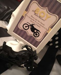Welcome sign at a motorcycle theme baby shower party! See more party planning ideas at CatchMyParty.com!