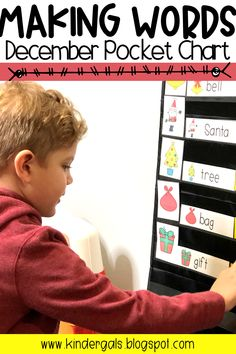 These pocket chart activities provide interesting word work activities for kindergarten and first grade students.  Pictures and sample words provide a template that makes these activities perfect for beginners.  Kids can use these word work lessons during a December celebration of Christmas or other winter holidays. #kindergarten #christmas #makingwords