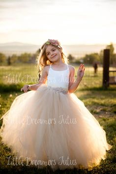 Items similar to The Grace Dress in Ivory Bodice and Ivory/Champagne Tulle with Deluxe Rhinestone Sash on Etsy Wedding Bridesmaids, Bridesmaid Dresses, Wedding Dresses, Little Girl Dresses, Flower Girl Dresses, Scarf Hairstyles, Dress Making, Dream Wedding, Luxury Wedding