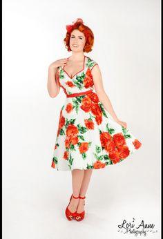 Heidi dress in Red Rose print