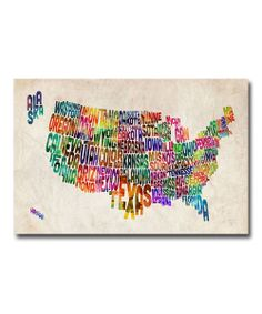 US States Text Map Gallery-Wrapped Canvas