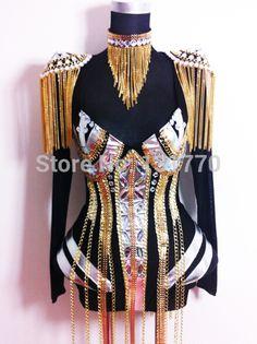 2015 mode féminine personnaliser style de la chaîne de couture gland atmosphérique strass body discothèque femmes dj chanteur costumes(China (Mainland))