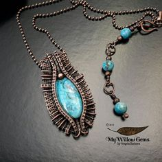 THEIA  Wire Wrapped Jewelry Blue Crazy Lace Agate by MyWillowGems